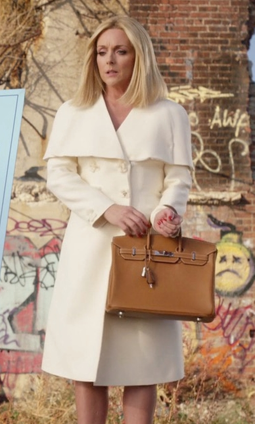 Jane Krakowski with Fendi Floral Double-Breasted Capelet Coat in Unbreakable Kimmy Schmidt