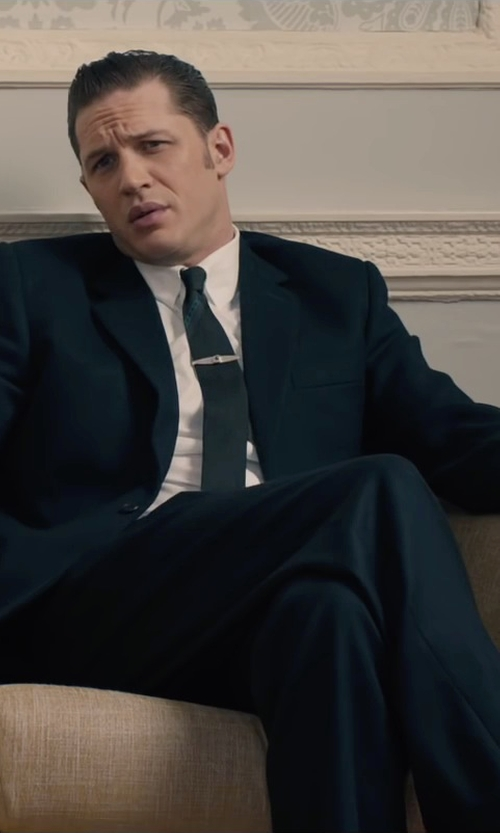 Tom Hardy with Tateossian Black Star Plated Tie Clip in Legend