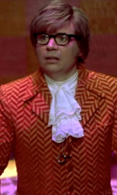 Mike Myers with Deena Appel (Costume Designer) Custom Made Orange Striped Chenille Suit in Austin Powers in Goldmember