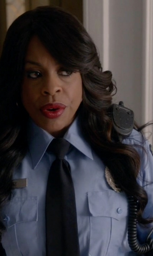 Niecy Nash with Galls Flying Cross Long Sleeve Poly Cotton Shirt in Scream Queens