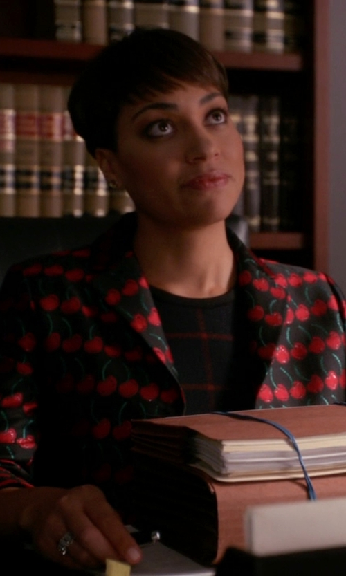Cush Jumbo with Red Valentino Cherry-Print Button-Front Jacket in The Good Wife