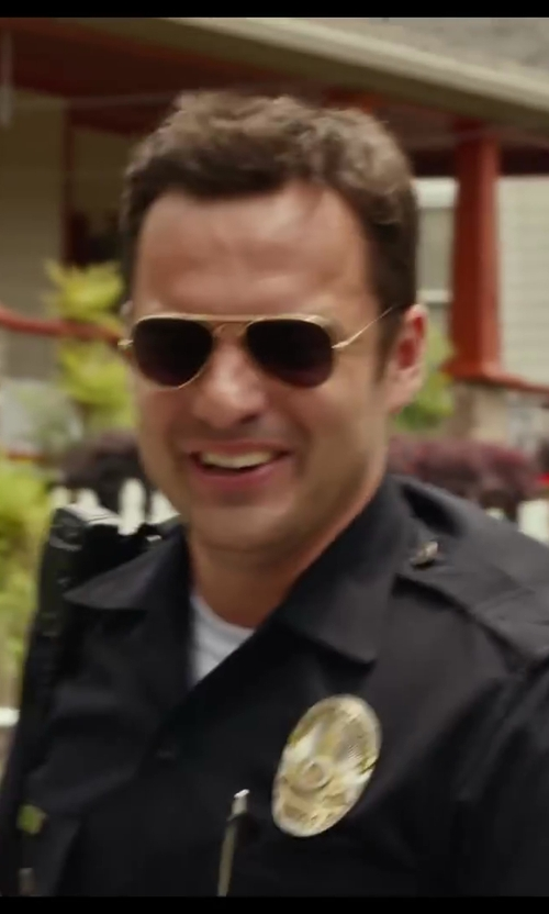 Jake Johnson with Ray-Ban Polarized Aviator Sunglasses in Let's Be Cops