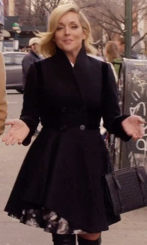 Jane Krakowski with Alexander Mcqueen Double Breasted Folded Drape Coat in Unbreakable Kimmy Schmidt