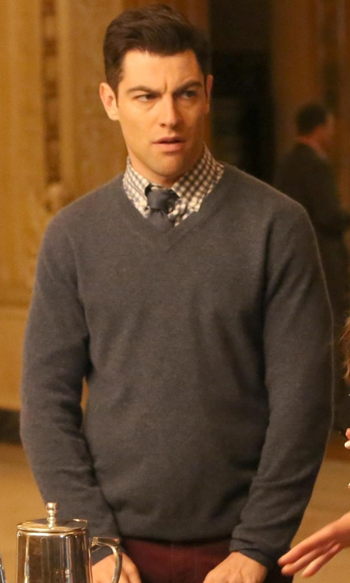Max Greenfield with Fay V-Neck Sweater in New Girl