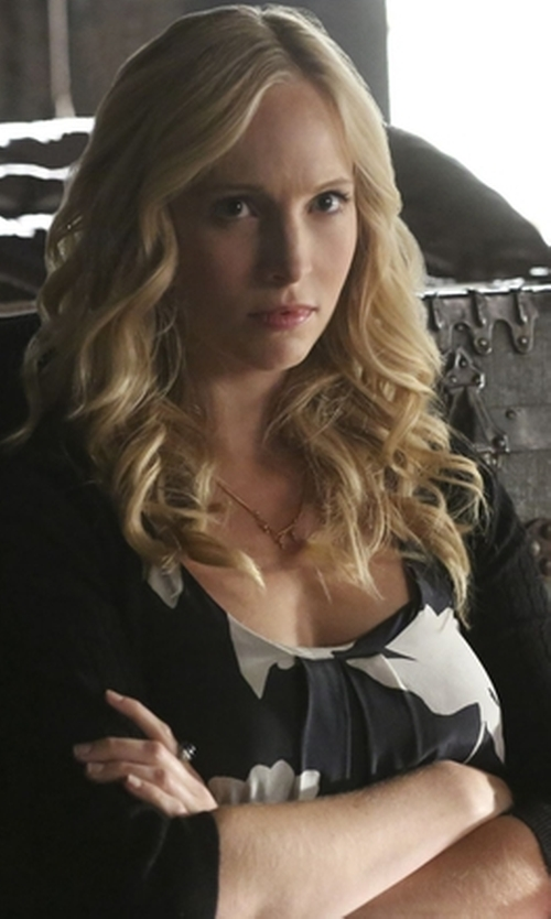 Candice Accola with Lucky Brand Women's Silk Vines Tank Top in The Vampire Diaries