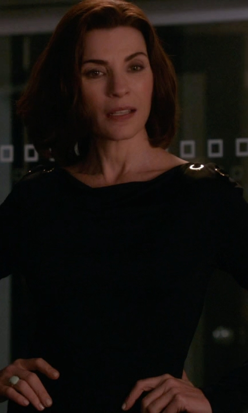 Julianna Margulies with Majestic Paris for Neiman Marcus Long-Sleeve Crewneck Top in The Good Wife