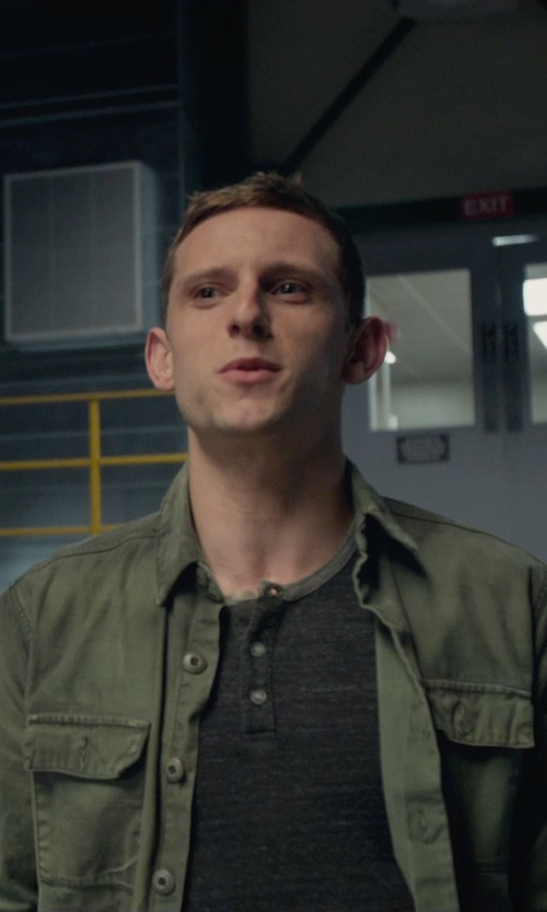 Jamie Bell with Vince Camuto Raglan Long-Sleeve Henley Shirt in Fantastic Four