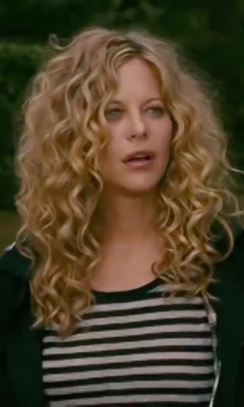 Meg Ryan with Burberry Striped Cotton T-Shirt in The Women