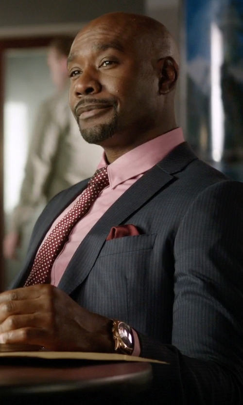 Morris Chestnut with Gucci Marseille Striped Wool Suit in Rosewood