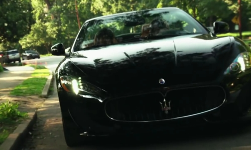 Sam Lerner with Maserati Granturismo Convertible in Project Almanac