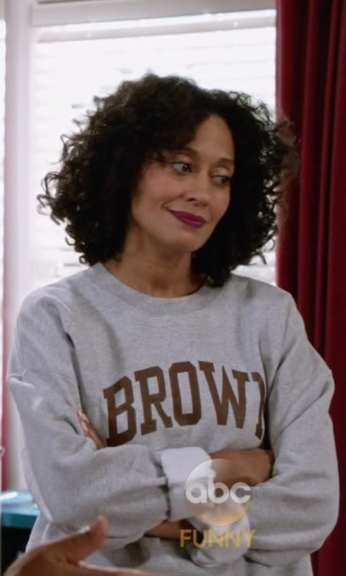 Tracee Ellis Ross with Zoe Karssen Lucky French Terry Sweatshirt in Black-ish