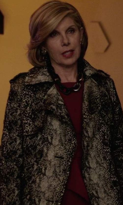Christine Baranski with Lanvin Double-Breasted Snake-Print Trenchcoat in The Good Fight