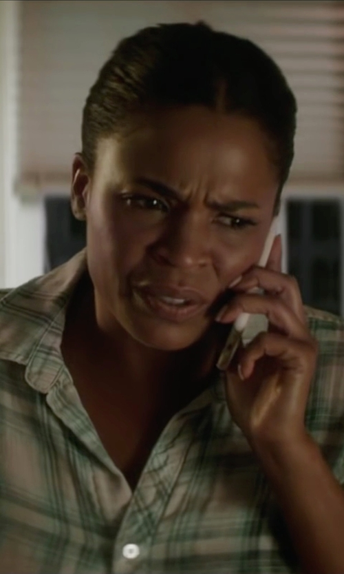 Nia Long with Barbour Cotton Button Front Shirt in Keanu