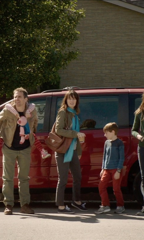 Rosemarie DeWitt with J.Crew 'Andie' Grey Chino Pants in Poltergeist