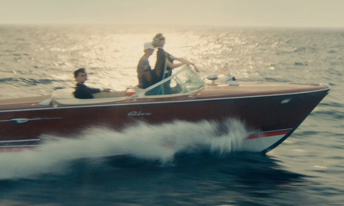 Elizabeth Debicki with Riva 1965 Aquarama Power Boat in The Man from U.N.C.L.E.