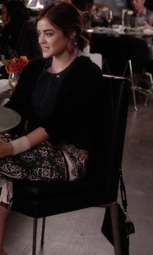 Lucy Hale with Skagen Nilsson Convertible Leather Crossbody Bag in Pretty Little Liars