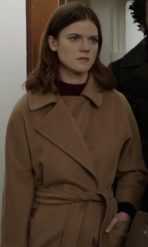 Rose Leslie with See by Chloe Double-Breasted Linen-Twill Trench Coat in The Good Fight