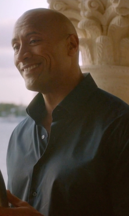 Dwayne Johnson with Theory Rammis S. Ostend Short-Sleeve Woven Shirt in Ballers