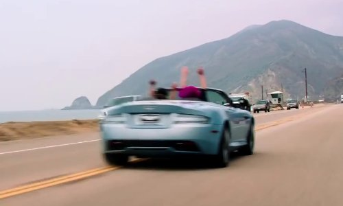 Zach Braff with Aston Martin DB9 Convertible in Wish I Was Here
