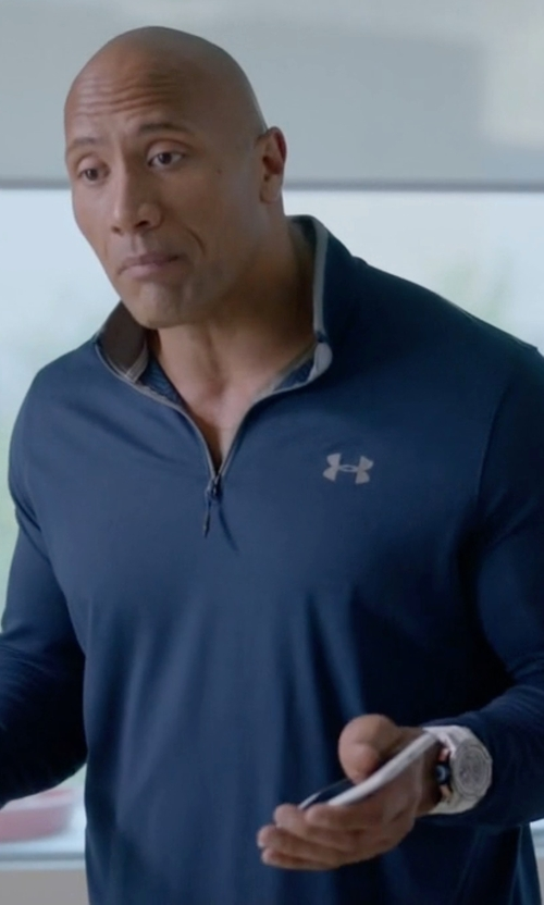 Dwayne Johnson with Under Armour UA Coldgear Infrared Lightweight Sweater in Ballers