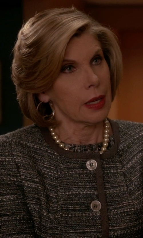 "Christine Baranski with Kate Spade New York ""All Wrapped Up"" Simulated Pearl Necklace in The Good Wife"