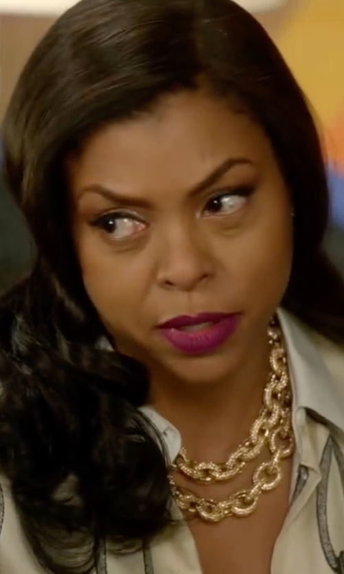Taraji P. Henson with Altuzarra Chain-Print Shirt in Empire