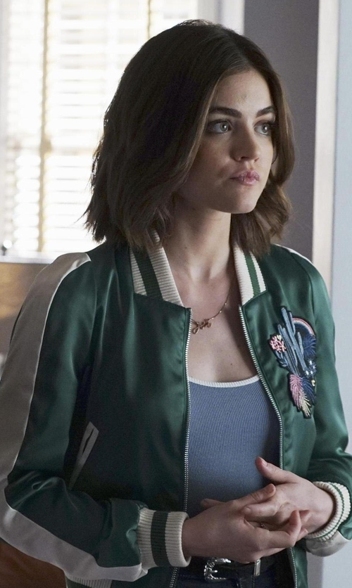 Lucy Hale with Maje Bacary Varsity-Style Two-Tone Satin Jacket in Pretty Little Liars