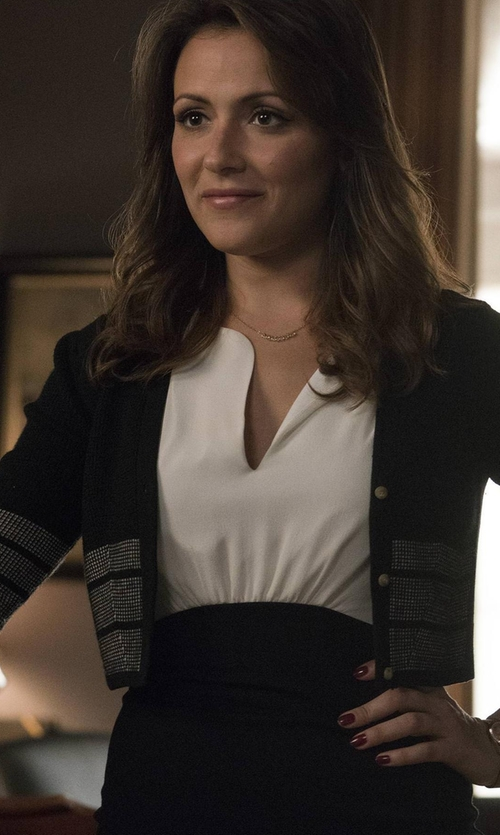 Italia Ricci with Milly Cropped Button-Front Cardigan in Designated Survivor