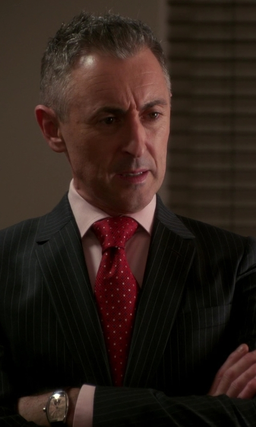 Alan Cumming with Hickey Freeman Wide Rope Stripe Suit in The Good Wife