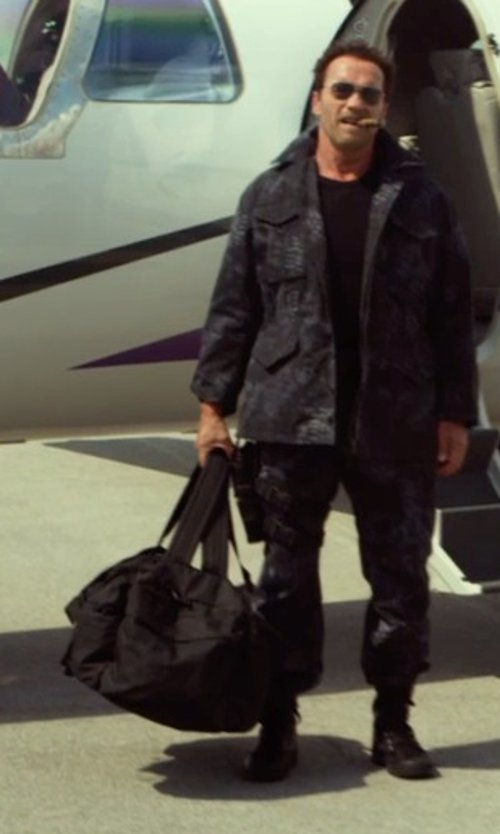Arnold Schwarzenegger with Briggs & Riley Extra Large Baseline Water Resistant Duffel Bag in The Expendables 3
