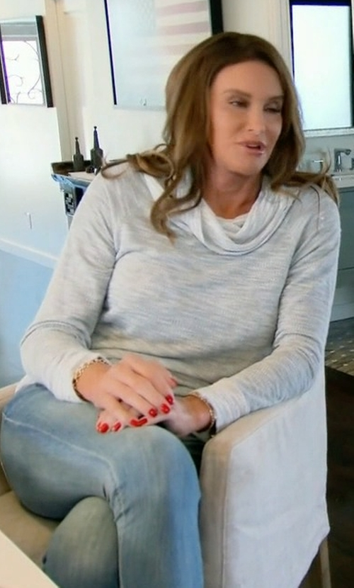 Caitlyn Jenner with Two By Vince Camuto Exposed Seam Cowl Neck Pullover in Keeping Up With The Kardashians