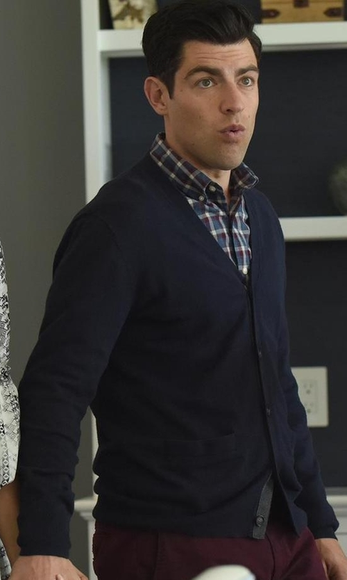 Max Greenfield with Theory Rothley Merino Wool Cardigan in New Girl