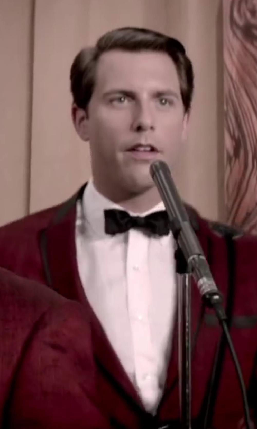 Michael Lomenda with Versace Collection Tuxedo Shirt, White in Jersey Boys