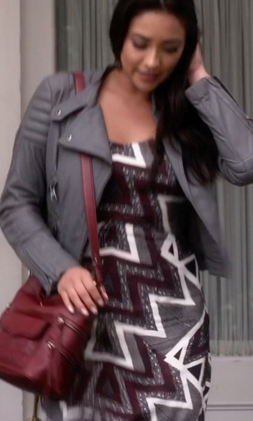 Shay Mitchell with Rebecca Minkoff Dexter Bucket Bag in Pretty Little Liars