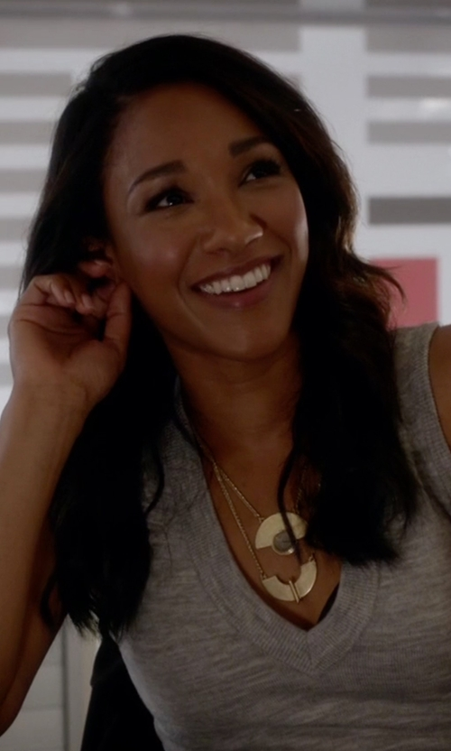 Candice Patton with Lucky Brand Goldtone Geo Labordorite Necklace in The Flash
