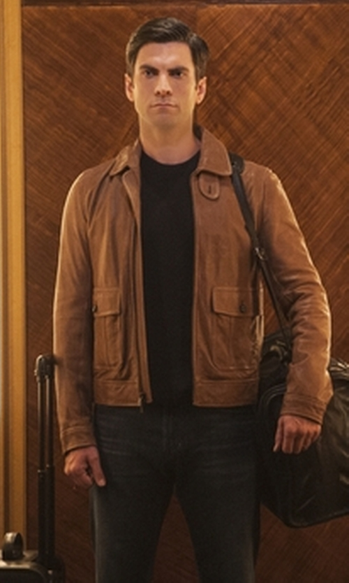 Wes Bentley with Orciani Leather Bomber Jacket in American Horror Story