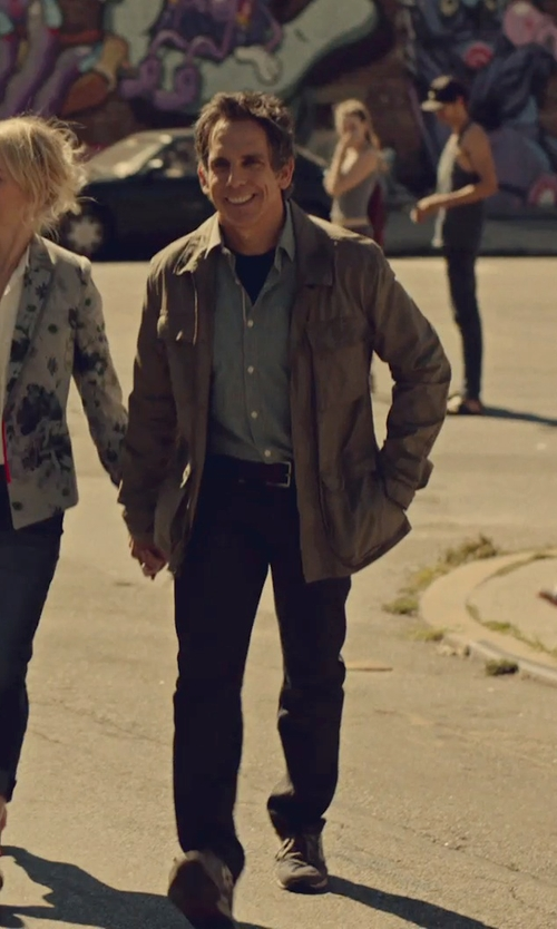 Ben Stiller with Dsquared2 Twill Leather Jacket in While We're Young