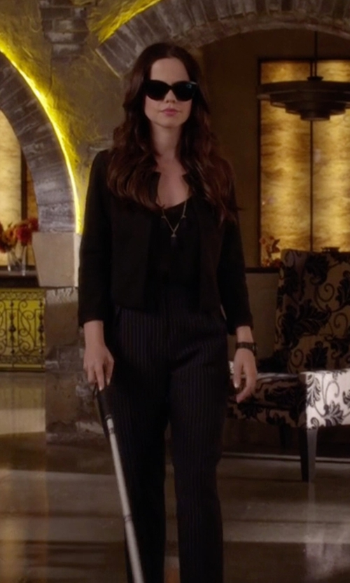 Tammin Sursok with Topshop Pinstripe Peg Trouser in Pretty Little Liars