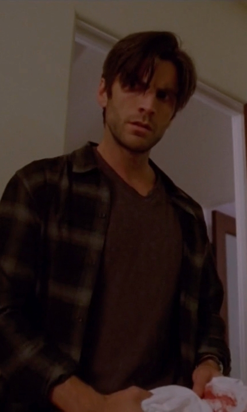 Wes Bentley with Burberry Check Cotton Flannel Button-Down Shirt in American Horror Story
