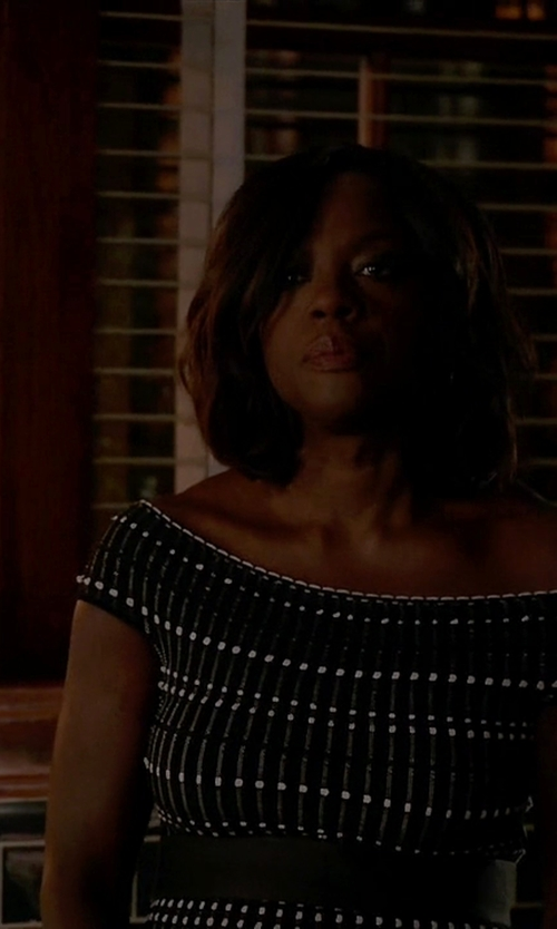 Viola Davis with Alexander McQueen Off-The-Shoulder Knitted Mini Dress in How To Get Away With Murder