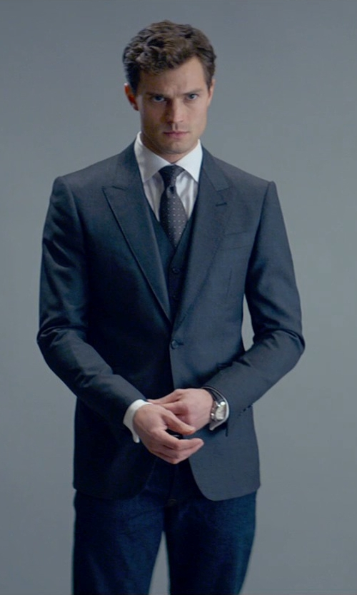 Jamie Dornan with Dolce & Gabbana Polka Dot Tie in Fifty Shades of Grey