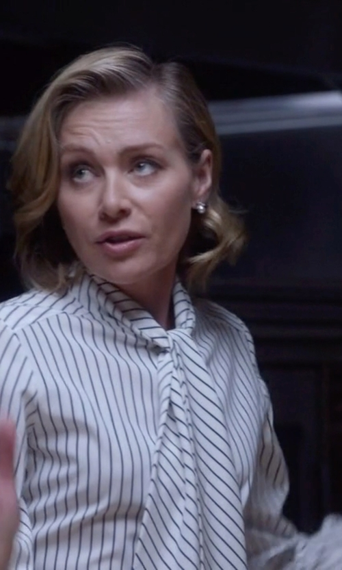 Portia de Rossi with Derek Lam Striped Pussy Bow Blouse in Scandal