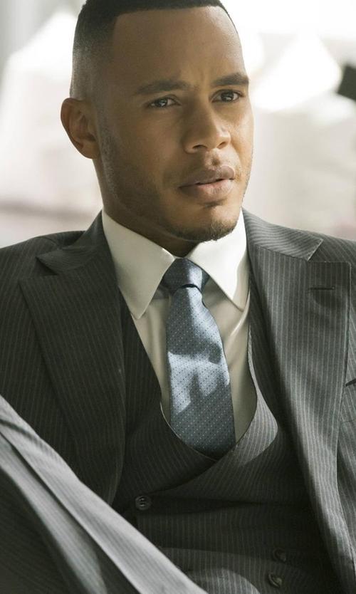 Trai Byers with Boss Hugo Boss Tonal Stripe Two-Piece Suit in Empire