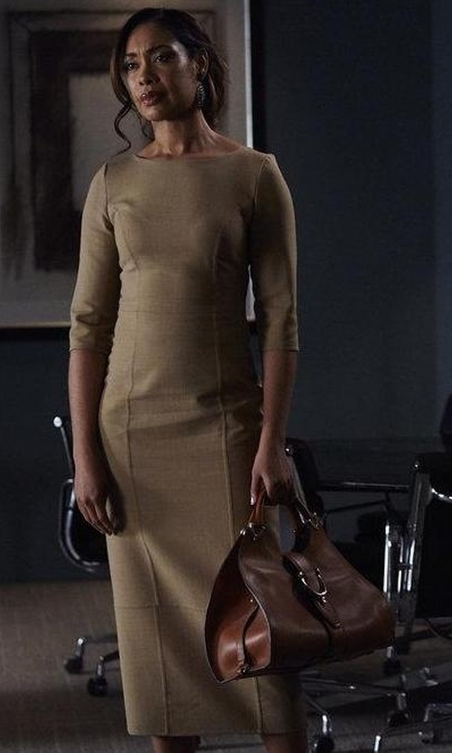 Gina Torres with Lela Rose Reversible Cashmere Half-Sleeve Dress in Suits
