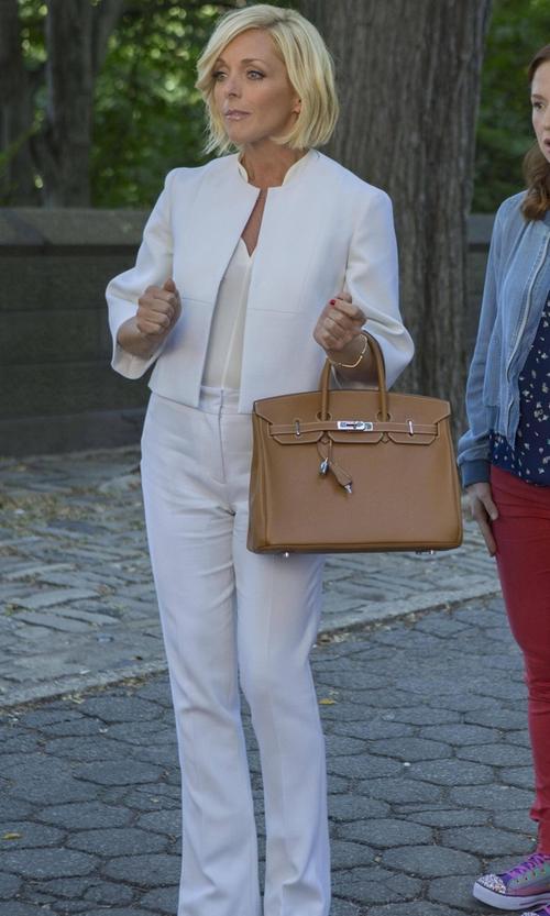 Jane Krakowski with Theory Alrigo High-Waisted Trousers in Unbreakable Kimmy Schmidt
