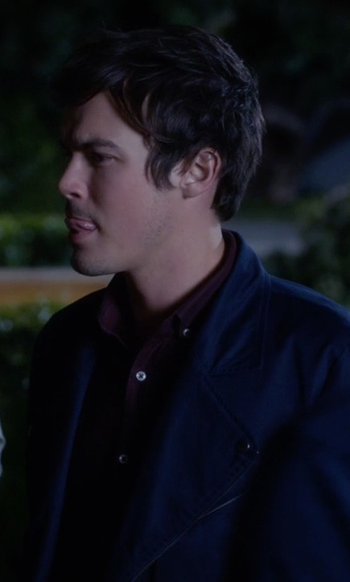 Tyler Blackburn with Topman Lux Blue Twill Biker Jacket in Pretty Little Liars