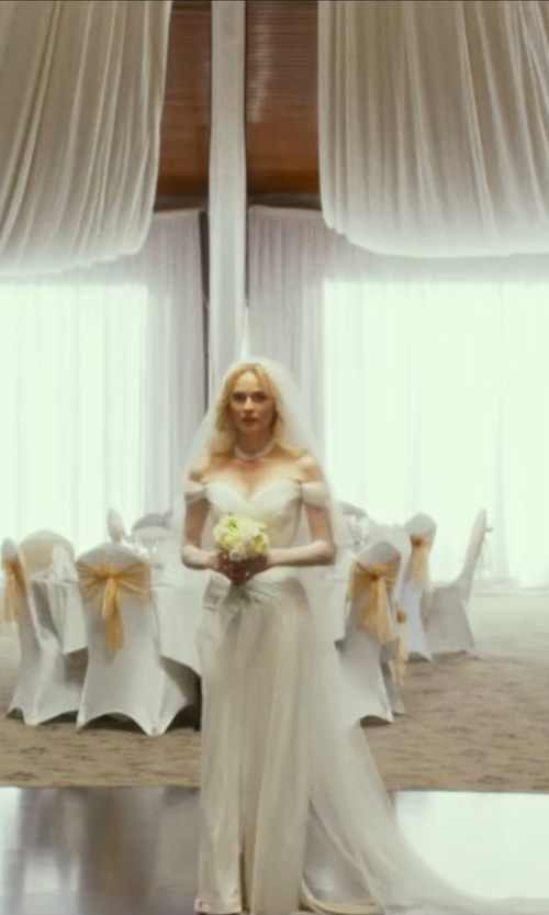Diane Kruger with Dapene Beading Off Shoulder Sweetheart Bridal Gown in The Infiltrator