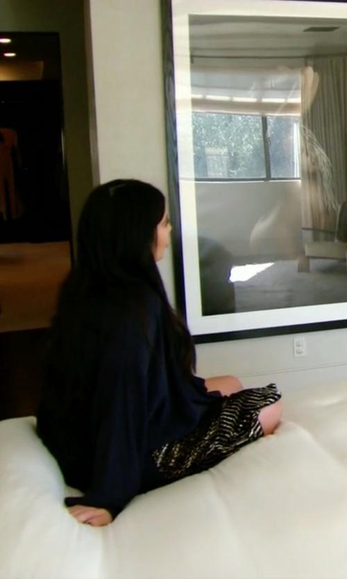Kim Kardashian West with Altuzarra Paneled Velvet Metallic Devore Slit Midi Skirt in Keeping Up With The Kardashians