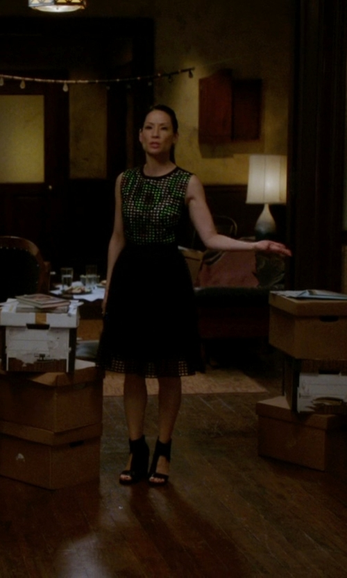 Lucy Liu with Carven Broderie Anglaise Kiwi Print Dress in Elementary