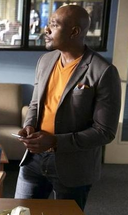 Morris Chestnut with Armani Collezioni Short-Sleeve V-Neck Jersey T-Shirt in Rosewood